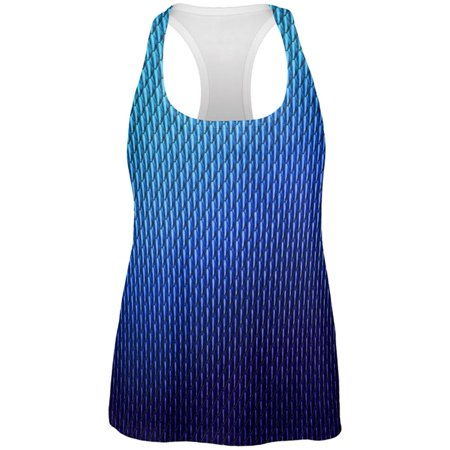 Halloween Blue Ice Dragon Scales Costume All Over Womens Work Out Tank Top - Dry Ice Halloween Ideas