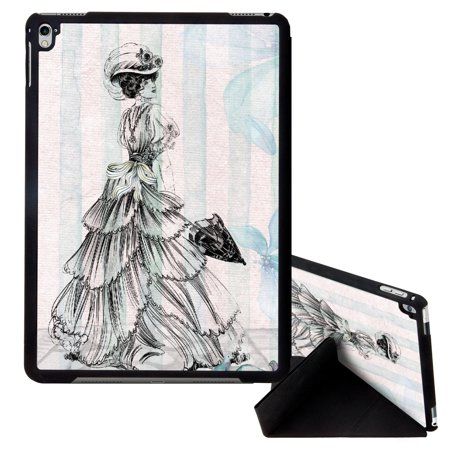 Image Of Vintage Classic Greeting Card Of Victorian Woman Holding Umbrella Apple Ipad Pro 9 7 Inch Smart Cover Tablet Case