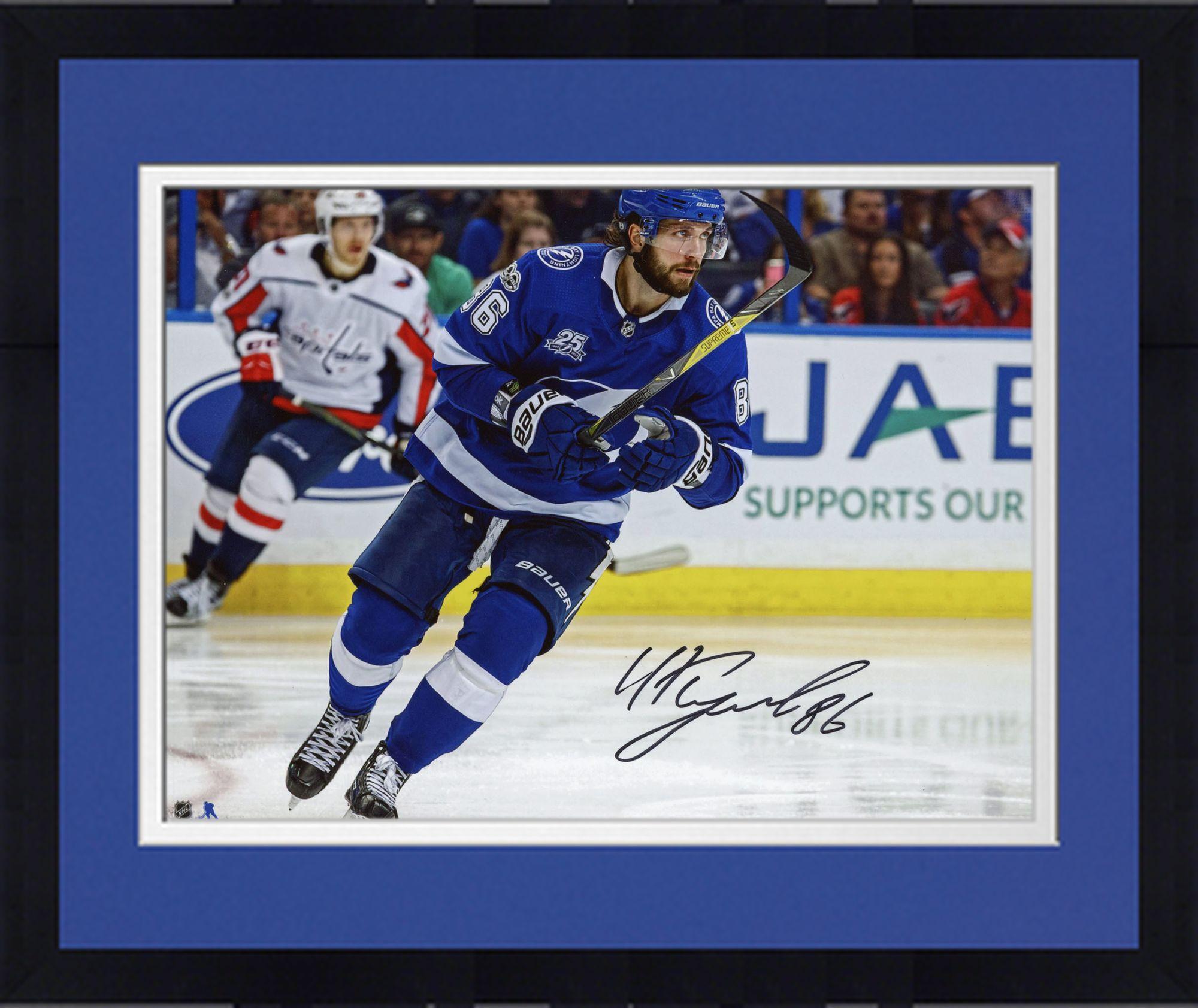 "Framed Nikita Kucherov Tampa Bay Lightning Autographed 8"" x 10"" Blue Jersey Skating Photograph Fanatics... by Fanatics Authentic"