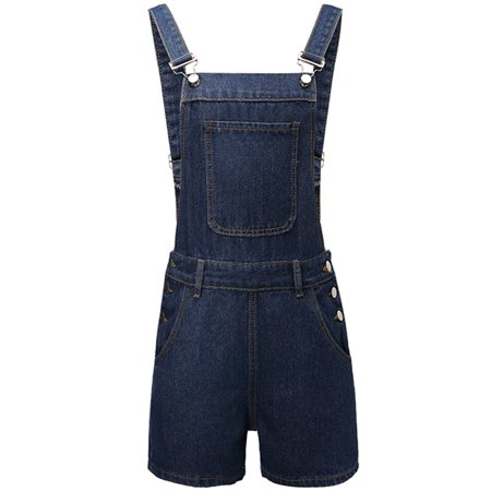 JDinms Womens Distressed Denim Bib Short Overalls with Pockets](White Overalls Halloween)