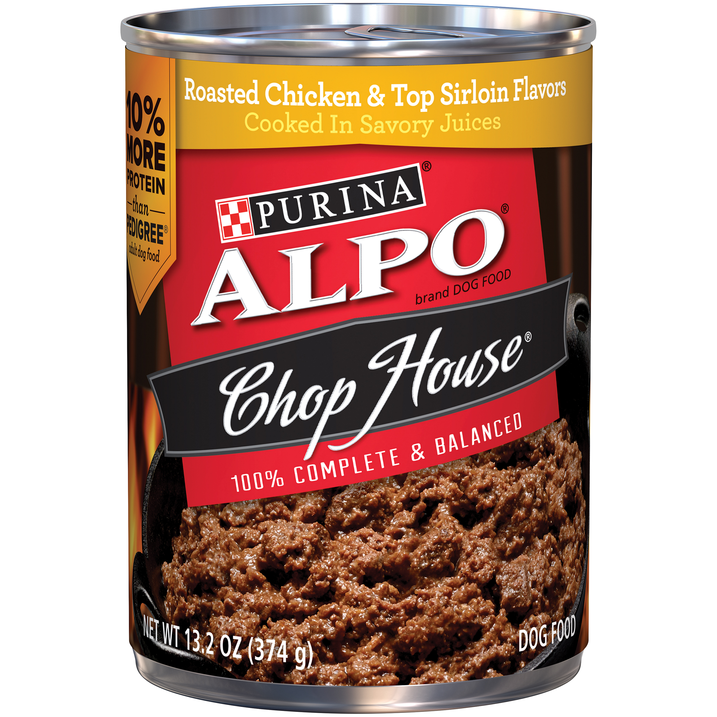 Purina ALPO Chop House Roasted Chicken & Top Sirloin Flavors Dog Food 13.2 oz. Can