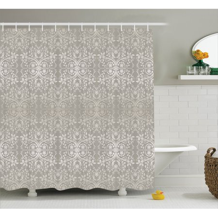 Gray Shower Curtain Set Victorian Lace Flowers And Leaves In Retro Background Old Fashioned Mod Graphic Print Home Bathroom Decor Silver