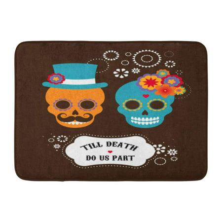 GODPOK Wedding Day Mexican with Two Cute Hipster Skulls Dead Halloween Rug Doormat Bath Mat 23.6x15.7 - Skull Wedding