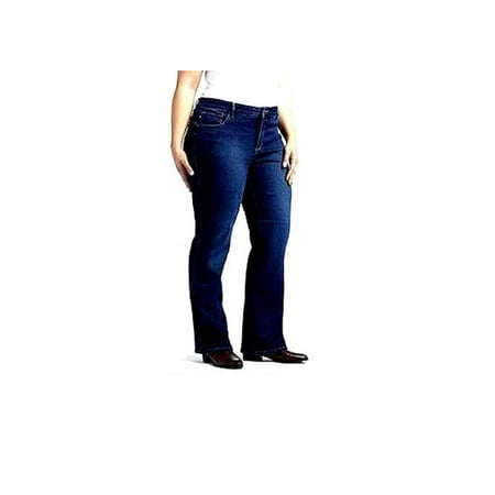 - Womens Extended Plus Size Petite Length Bootcut Stretch BLUE /BLACK Denim JEANS