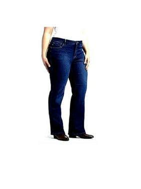 117fa5fdabc Product Image Womens Extended Plus Size Petite Length Bootcut Stretch BLUE   BLACK Denim JEANS