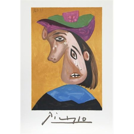 Pablo Picasso 7894 Le Pleureuse, Lithograph on Paper 29 In. x 22 In. - Yellow, Blue, Purple