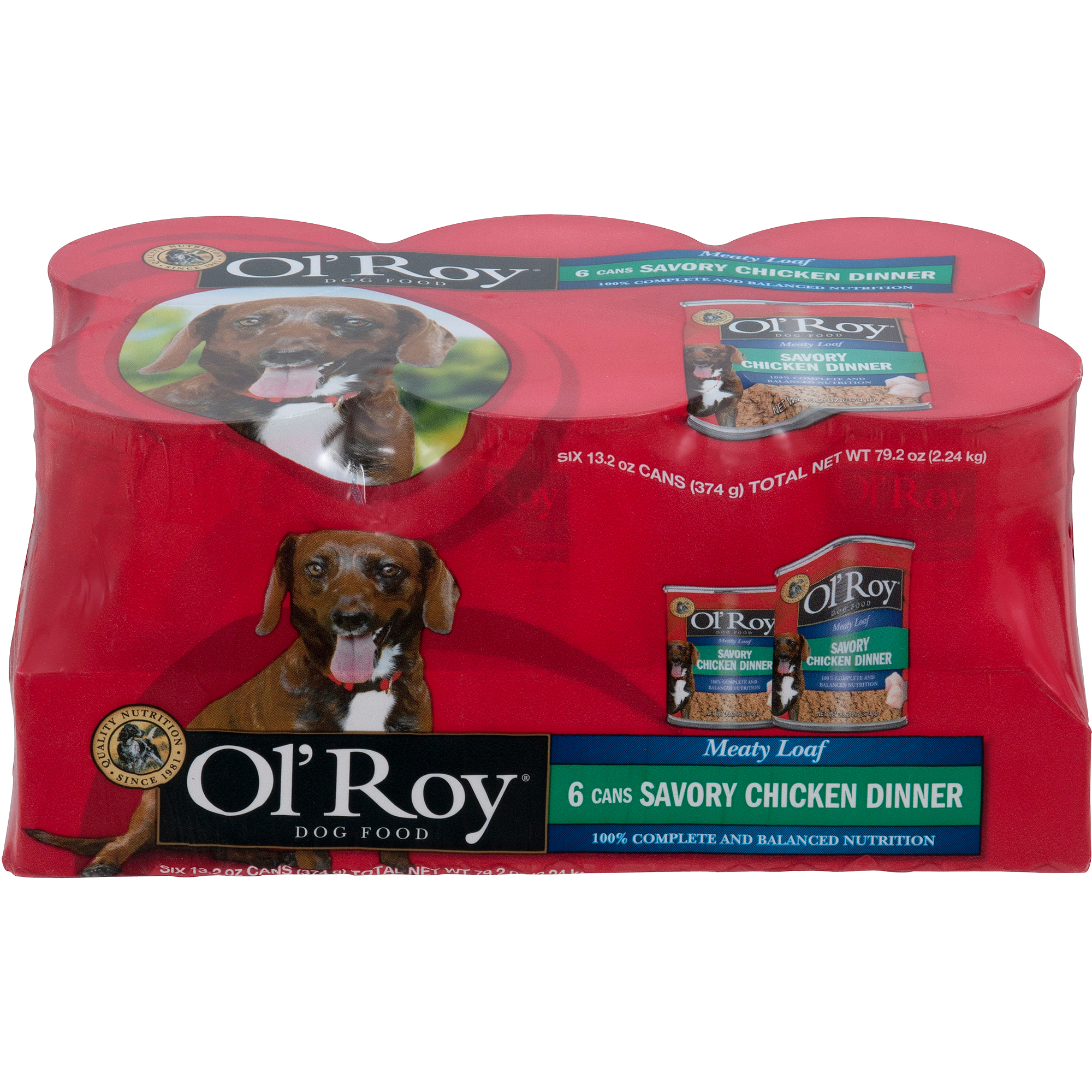 Ol' Roy Meaty Loaf Chopped Chicken Flavor in Meaty Juices Canned Dog Food, 13.2 oz, 6 count