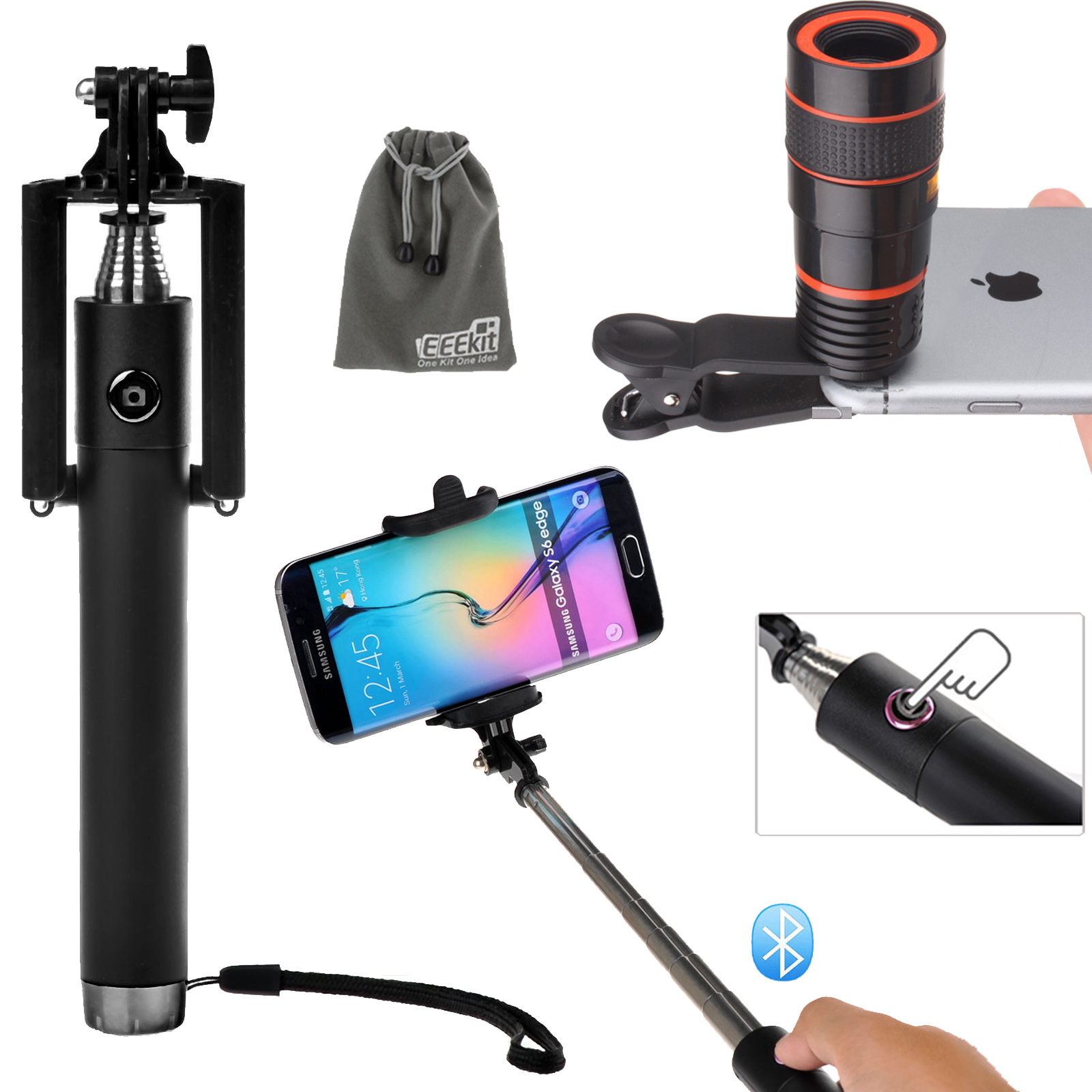 EEEKit Universal 8x Zoom Telescope Lens And Wireless Bluetooth Selfie Stick Pole for Cell Phone iPhone Samsung LG HUAWEI