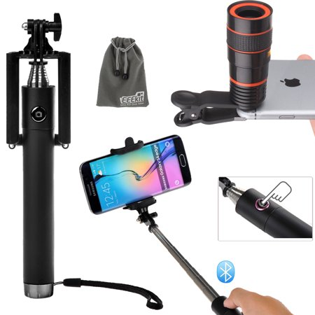 eeekit universal 8x zoom telescope lens and wireless bluetooth selfie stick pole for cell phone. Black Bedroom Furniture Sets. Home Design Ideas