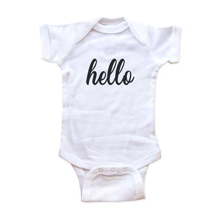 Baby Boy Script (hello (script font) new baby surprise - wallsparks cute & funny Brand - baby one piece bodysuit - Great baby shower)