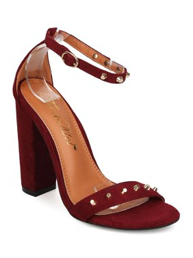 13383f954e4 Product Image Toi et Moi FB94 Women Faux Suede Open Toe Studded Ankle Strap  Block Heel Sandal
