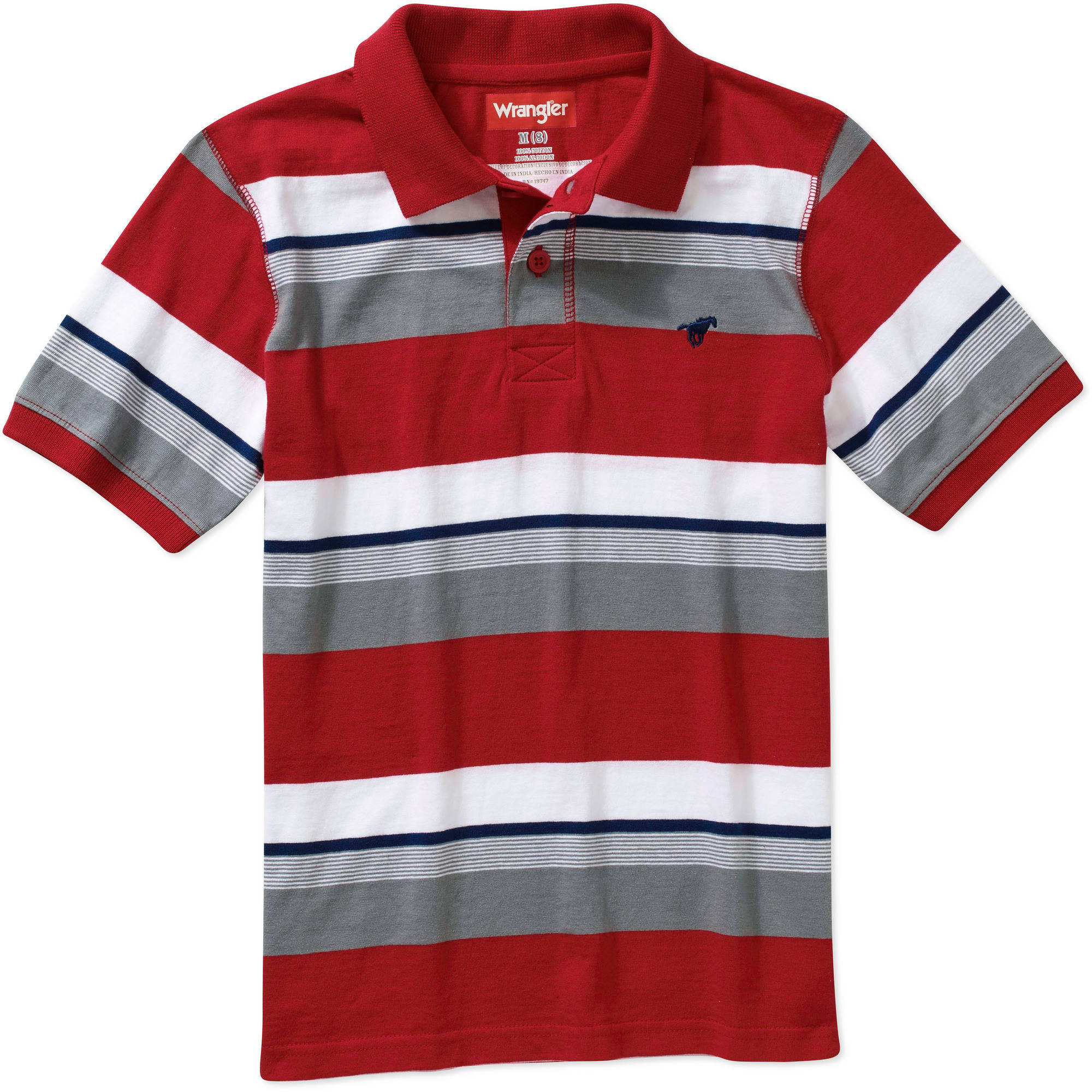 Wrangler Boys Short Sleeve Stripe Polo Walmart