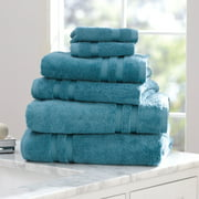 Mainstays Performance 6 Piece Bath Towel Set Collection in Solid & Textured