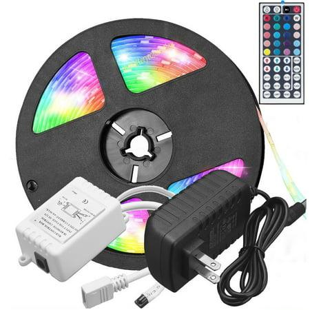 Vlight 5M RGB 5050 Waterproof LED Strip light SMD 44 Key Remote 12V US Power Full Kit ()