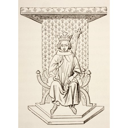 King Louis Ix Of France 1214 - 1270 Seated On His Throne With A Fleur-De-Lis Wall Hanging Behind Him After A 14Th Century Miniature From Les Artes Au Moyen Age Published Paris 1873