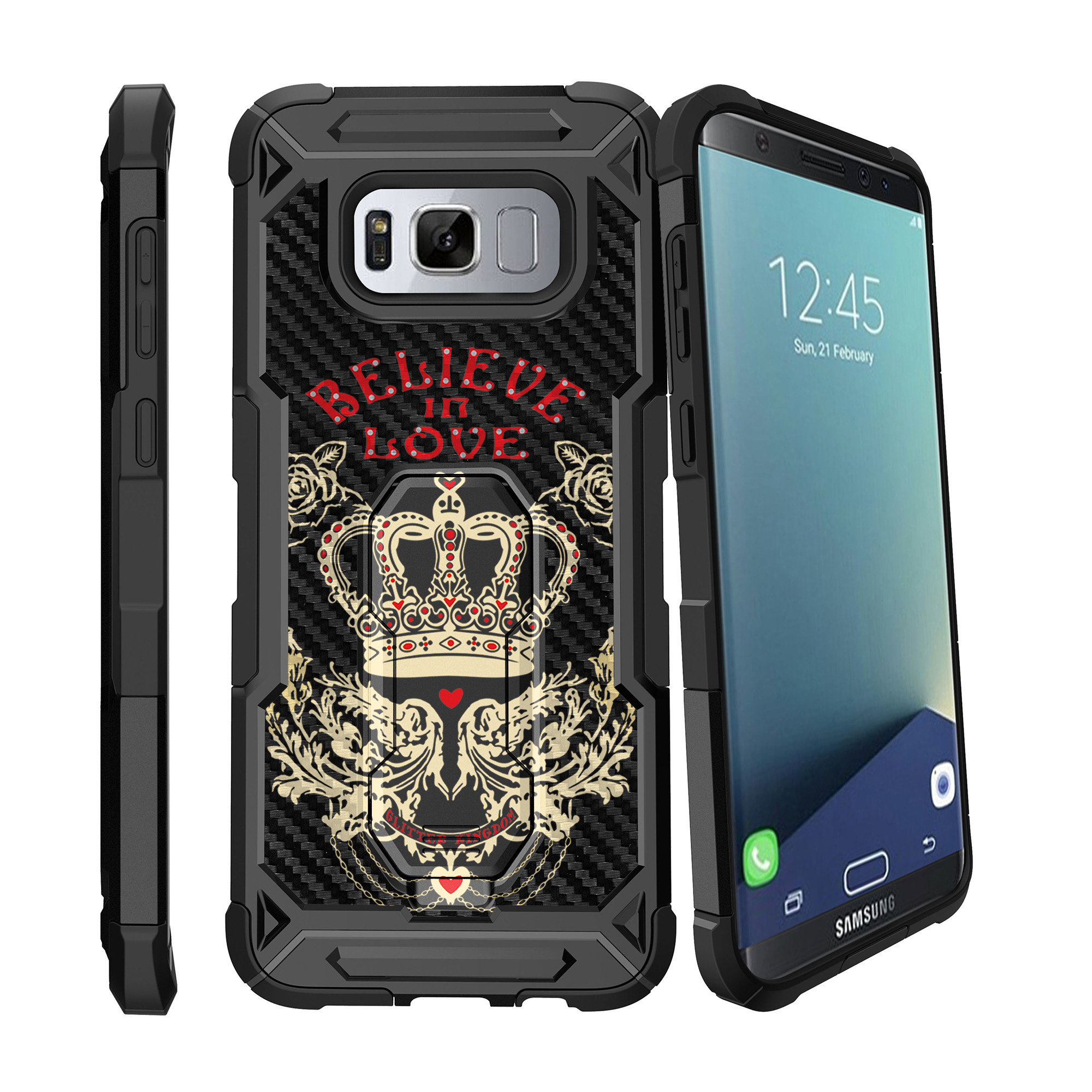 Case for Samsung Galaxy S8 Plus Version [ UFO Defense Case ][Galaxy S8 PLUS SM-G955][Black Silicone] Carbon Fiber Texture Case with Holster + Stand Unique Designs Series
