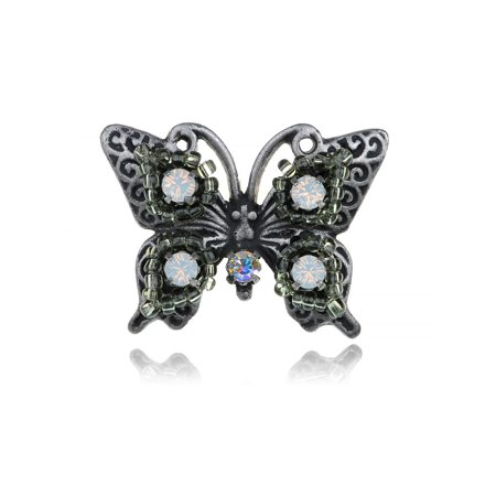 Vintage Inspired Opal Crystal Rhinestone Clear Round Bead Butterfly Fashion -