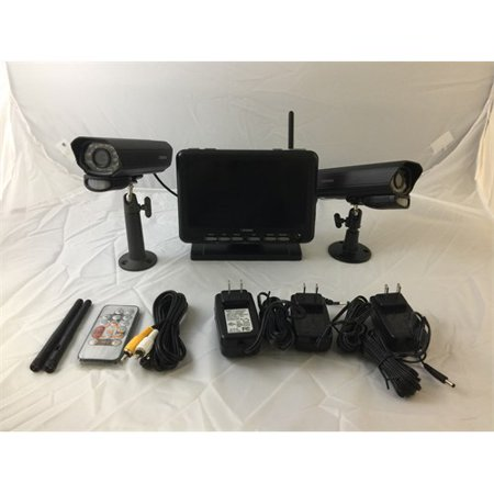 Refurbished Defender Digital Wireless DVR Security System with 7 Inch LCD Monitor, SD Card Recording and 2 Long Range Night Vision Cameras