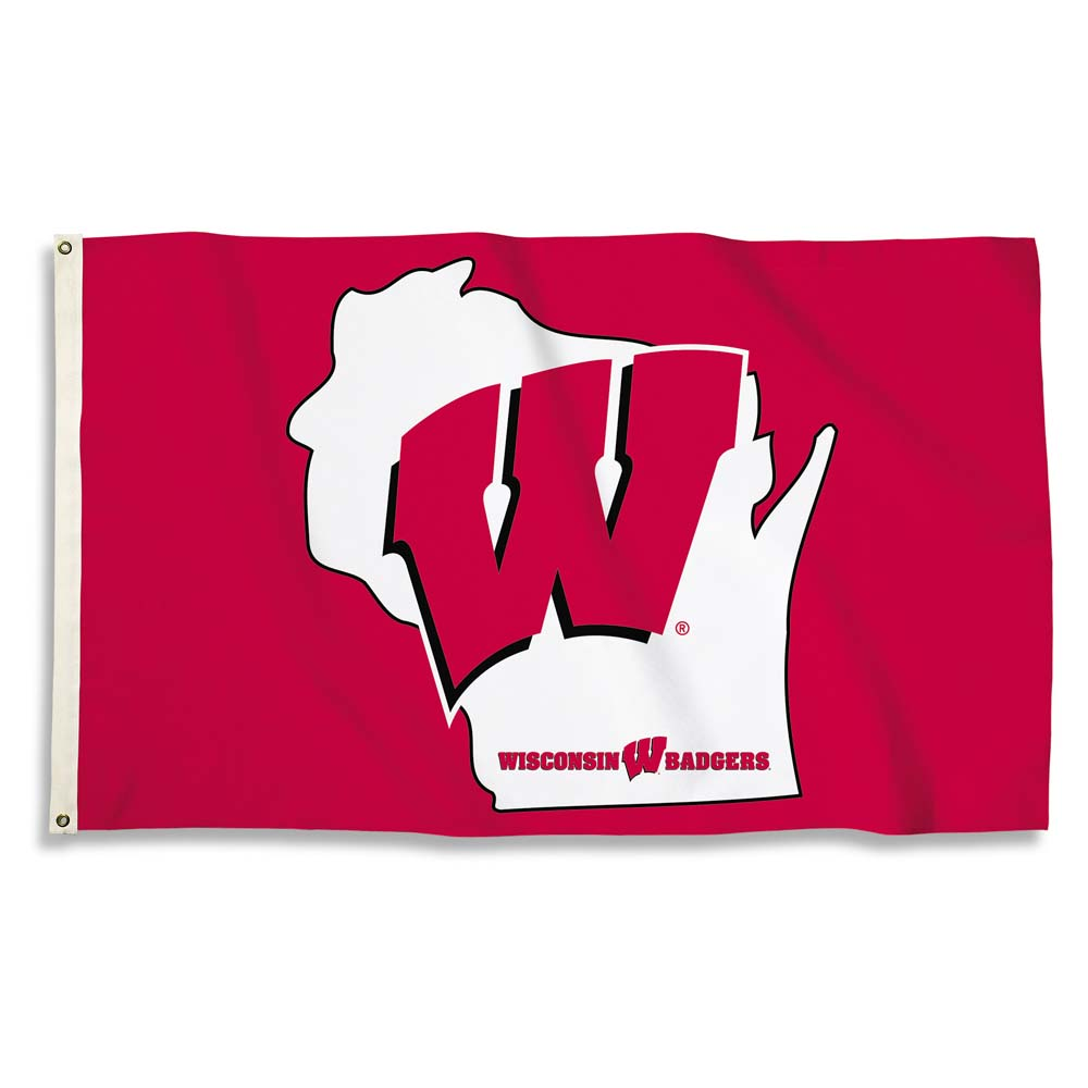 Wisconsin Badgers 3 Ft. X 5 Ft. Flag W/Grommets (F)