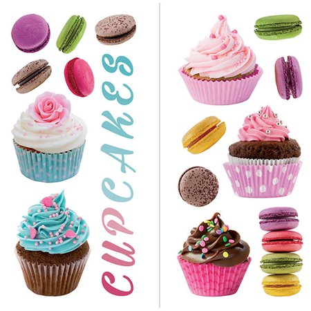 Home Decor Line Cupcakes Macarons Wall Decal Set