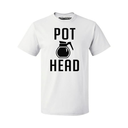 P&B Coffee Pot Head Men's T-shirt, White ,S (Get Coffee Stain Out Of White Shirt)