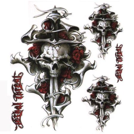 6 x 8 decal skull cross tattoo for Autocollant mural walmart