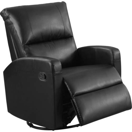 Monarch Recliner Swivel Glider   Charcoal Grey Bonded Leather by Monarch Specialties