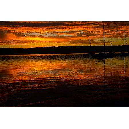 White Mood Peel (Peel-n-Stick Poster of Nature Sky Lake Mood Ammersee Sunrise Water Poster 24x16 Adhesive Sticker Poster Print)