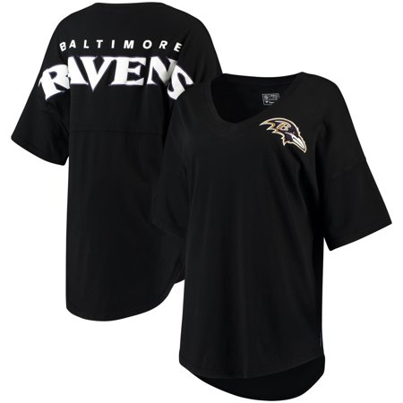 Baltimore Ravens NFL Pro Line by Fanatics Branded Women's Spirit Jersey Goal Line V-Neck T-Shirt - Black Baltimore Ravens Goal Line