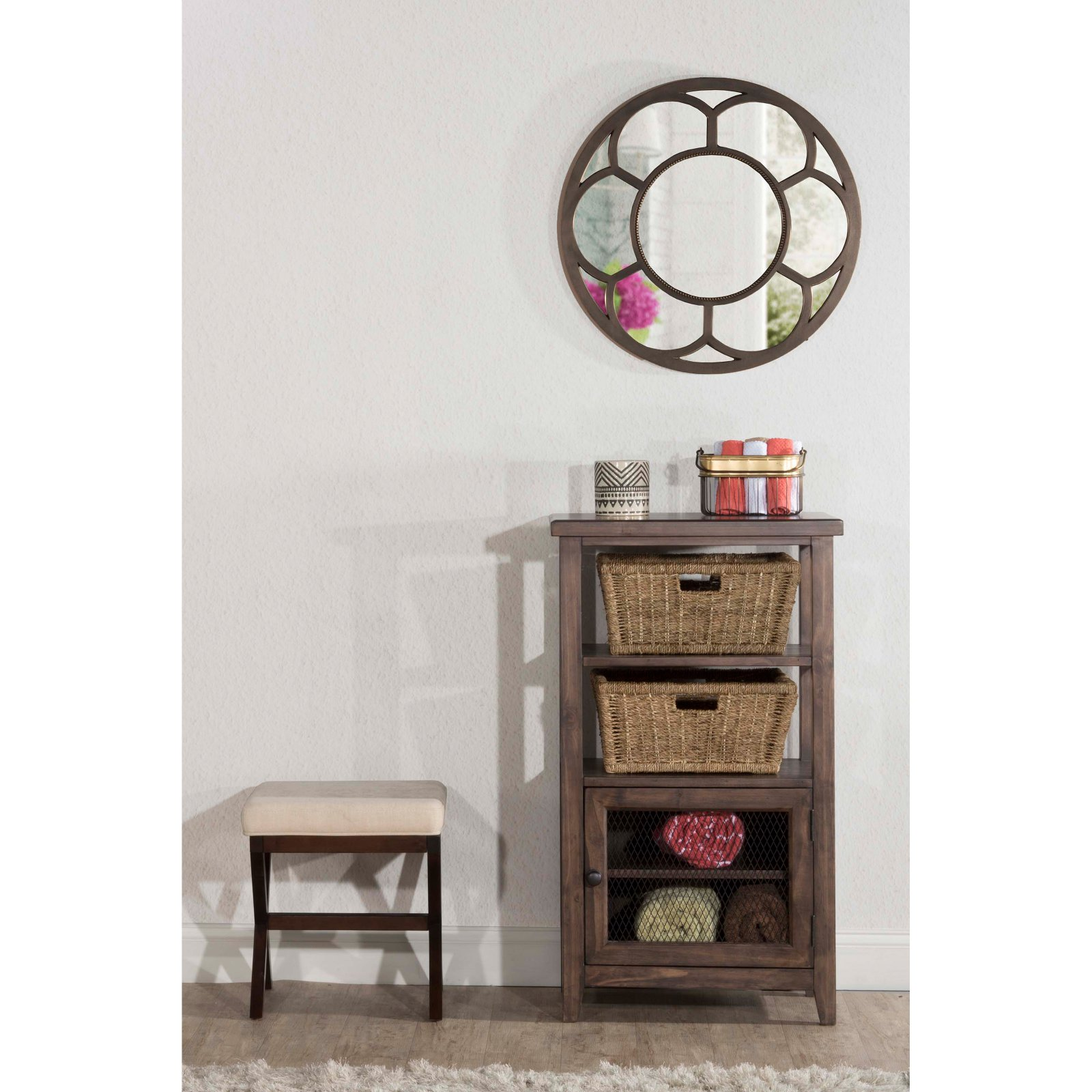 Hillsdale Furniture Tuscan Retreat Basket Stand with Wire Door and Two (2) Baskets, Mocha