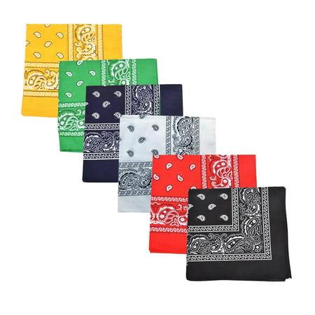 Bandana Wholesale (Set of 480 Mechaly Unisex Paisley 100% Polyester Double Sided Bandanas - Bulk)