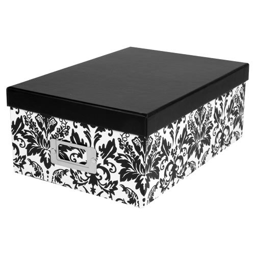 Pioneer Photo Albums Photo Storage Box (Black/White Damask 2 Pack)