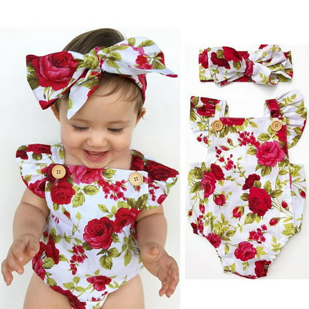0-24M Floral Baby Girl Clothes Summer Ruffles Halter Romper Bodysuit +Headband Outfit Toddler Kids Clothing Set (50s Baby Clothes)