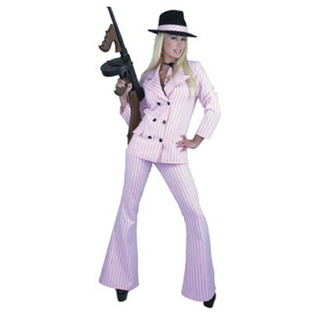 Womens  Pink & Black Gangster Costume Suit