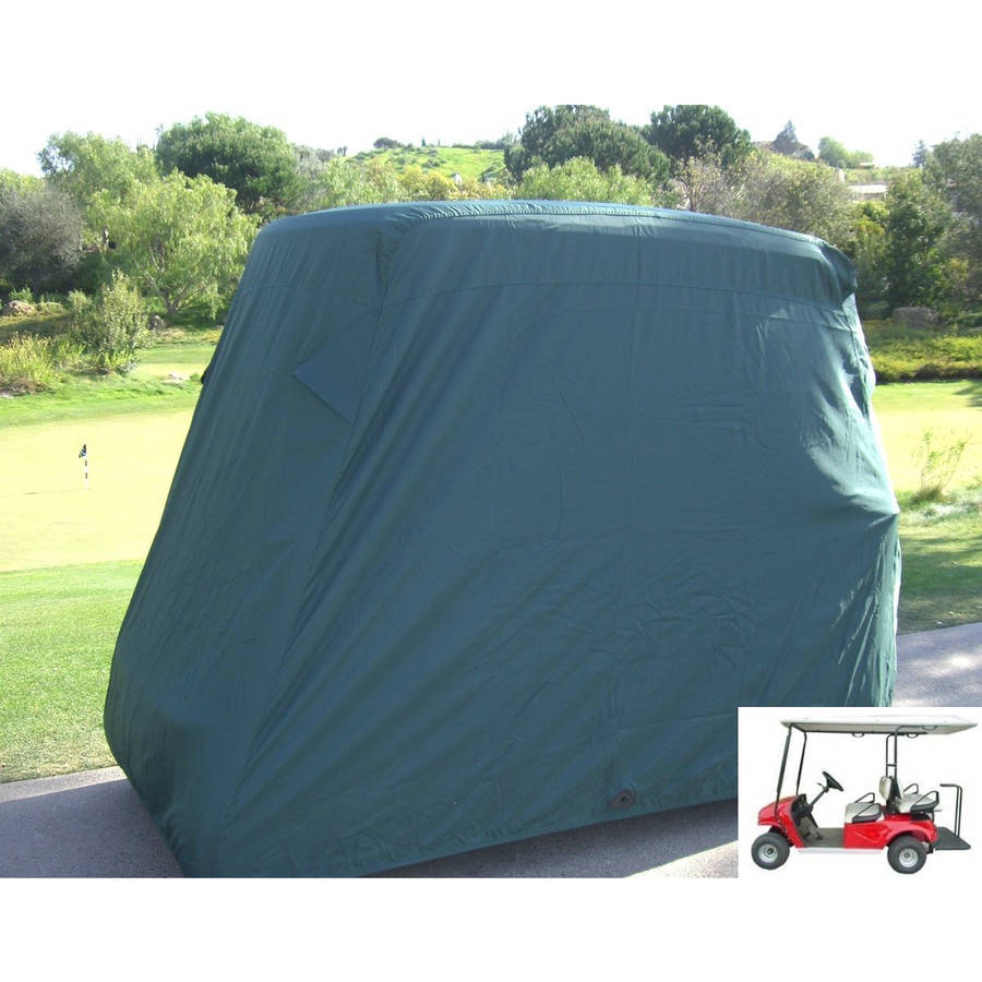 "Formosa Covers Deluxe 4 Passenger Golf Cart Cover roof 80""L Green, fits E Z GO, Club Car and Yamaha G model"