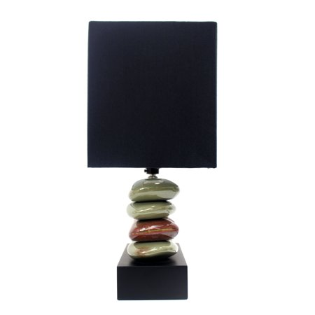 All The RagesLT1036-BLK Rectangular Dual Stacked Stone Ceramic Table Lamp with Black Shade - image 1 of 4