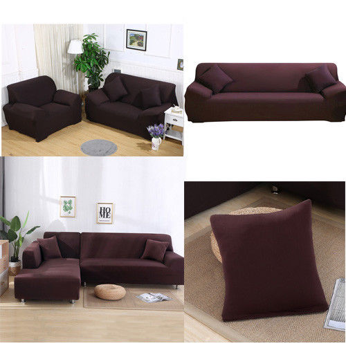 Stretch Sofa Covers 1/2/3/4 Seater Sofa Cover, Loveseat Cover, Chair Cover Furniture Protector Elastic Fabric Soft Couch Slipcovers (Brown)
