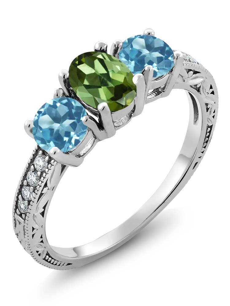 Gem Stone King 1.82 Ct Oval Green Tourmaline Swiss Blue Topaz 925 Sterling Silver Ring by