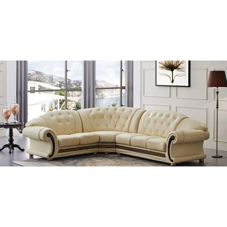 ESF Versachi Luxury Beige Genuine Top Grain Italian Leather Sectional Sofa  Left
