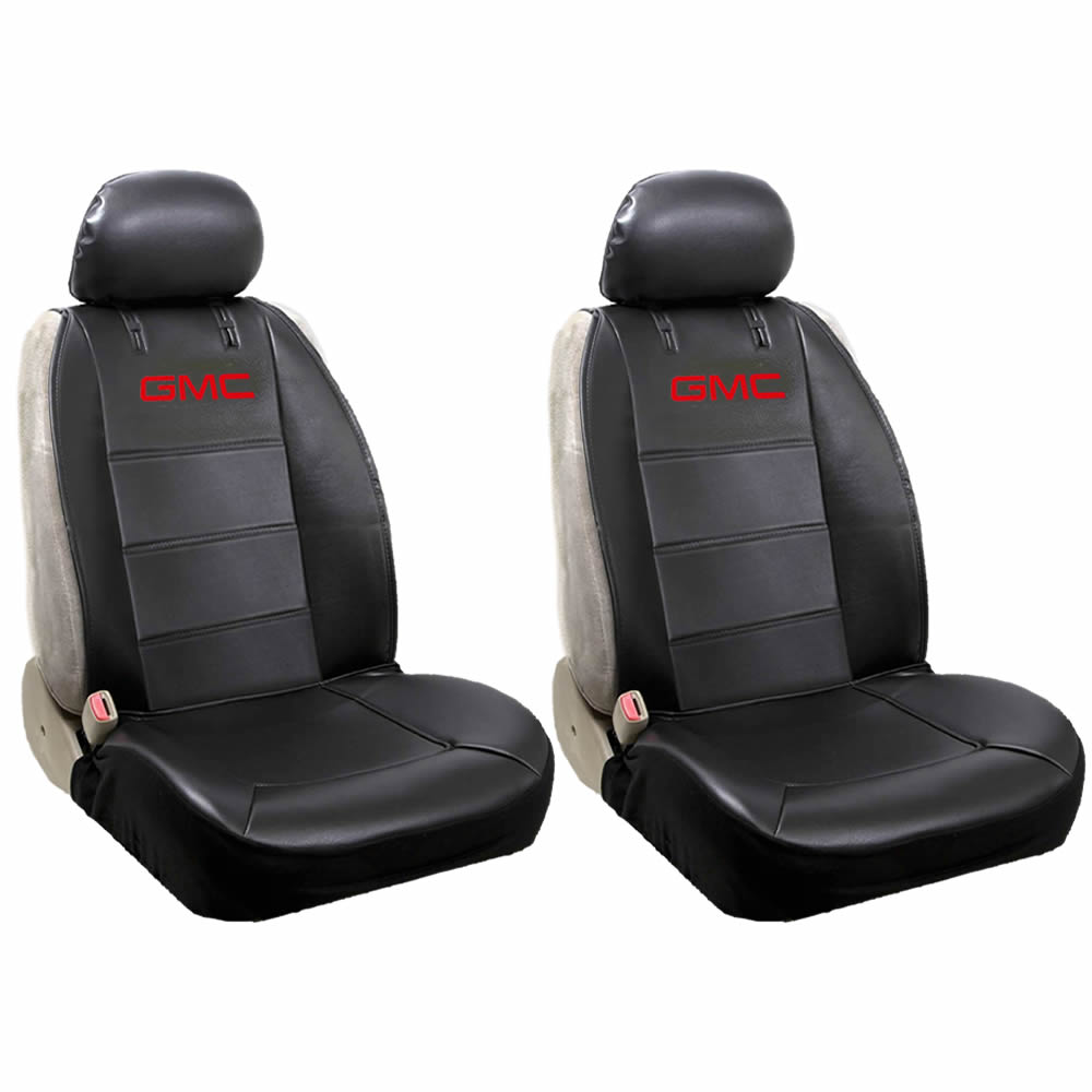 Official Licensed 2 Piece Synthetic Leather Sideless Seat Covers 2 Headrest Cover Car Truck SUV for GMC