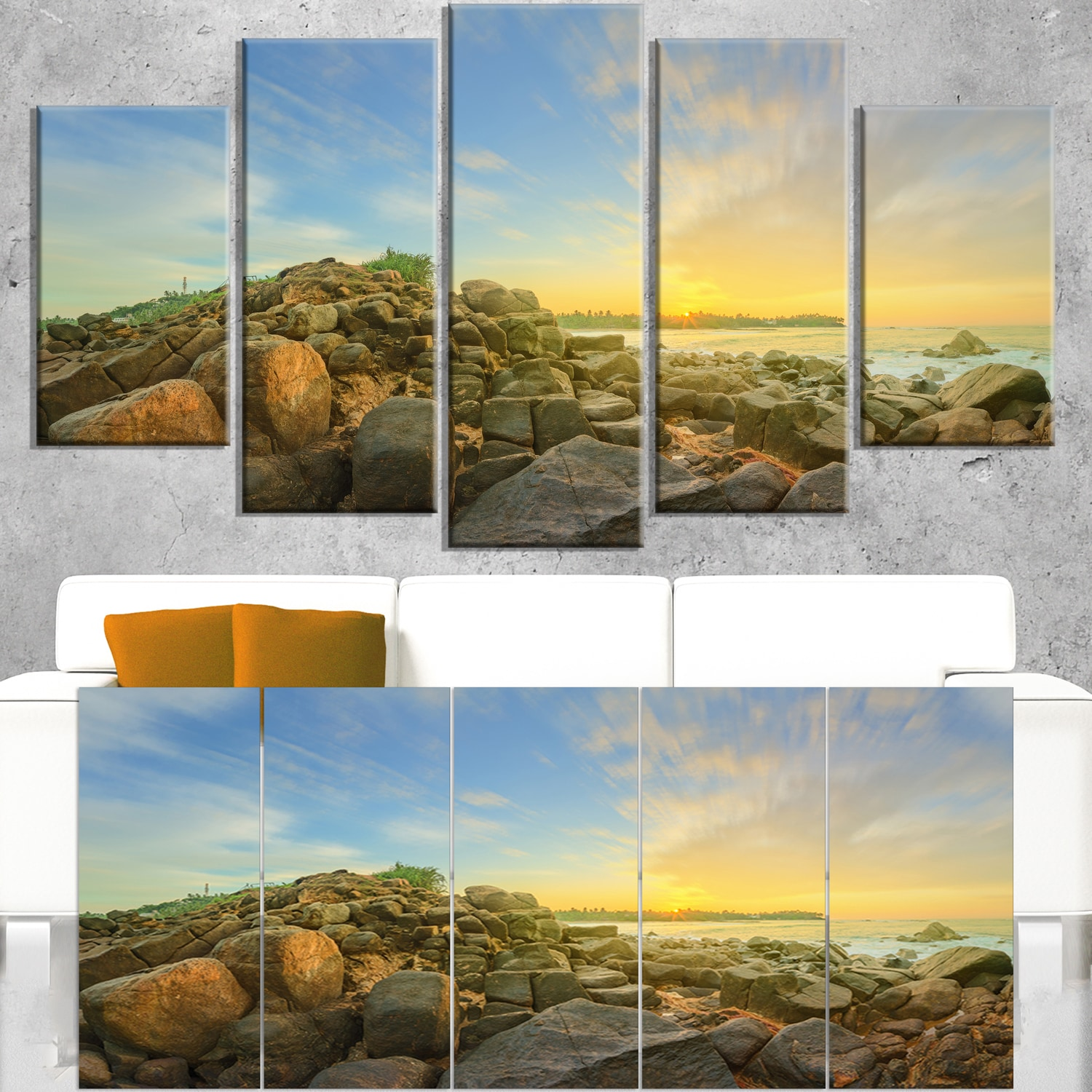 DESIGN ART Untouched Romantic Beach of Sri Lanka - Landscape Artwork Canvas - Blue 60 in. wide x 28 in. high - 5 Equal Panels