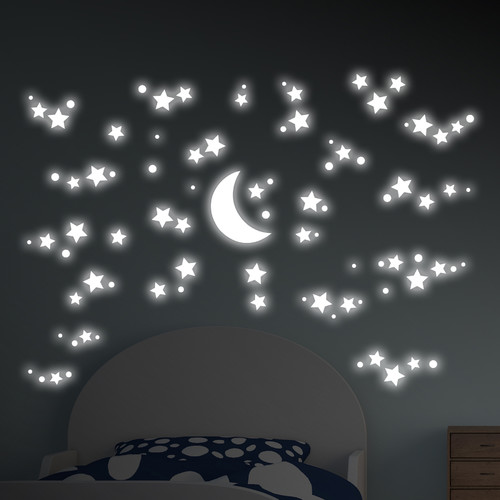 WallPops! Starry Night Glow in the Dark 99 Piece Wall Decal Set