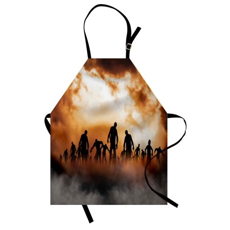 Halloween Apron Zombies Dead Men Walking Body in the Doom Mist at Night Sky Haunted Theme Print, Unisex Kitchen Bib Apron with Adjustable Neck for Cooking Baking Gardening, Orange Black, by Ambesonne (Halloween Themed Names For Food)