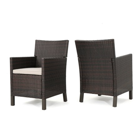 Christopher Knight Home Cypress Outdoor Wicker Dining Chairs With Cushions Set Of 2 By Brown