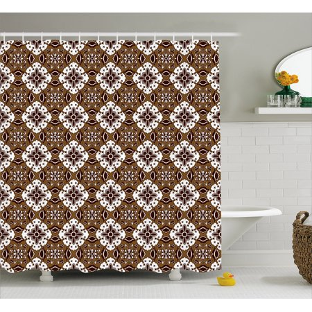 Chocolate Shower Curtain, Brown Toned Ancestral Batik Pattern with ...