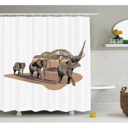 Elephants Decor Shower Curtain Set African Elephants On Savannah Graphic Image Animals In