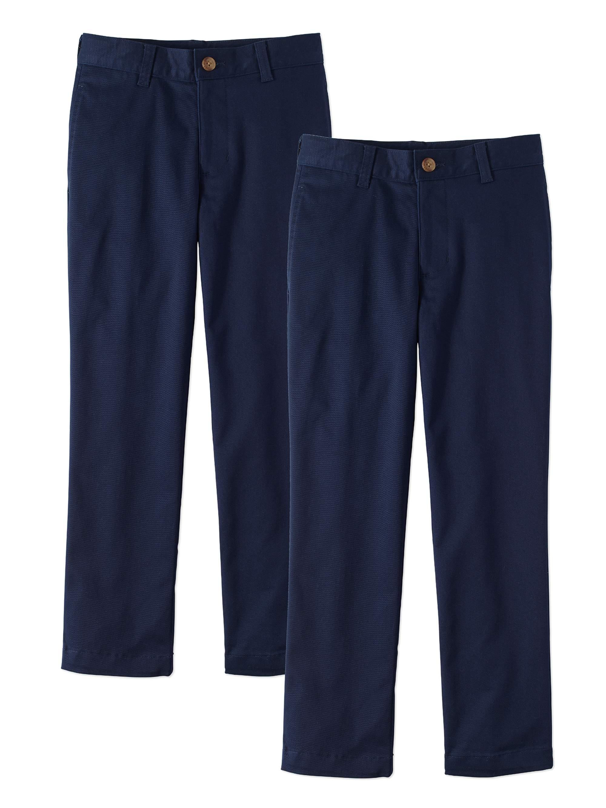 Wonder Nation Boys School Uniform Super Soft Flat Front Pants, 2-Pack Value Bundle