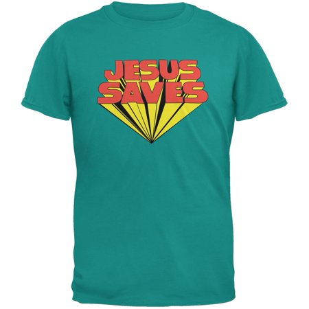 Jesus Saves Inspired By Keith Moon Jade Green Adult T Shirt