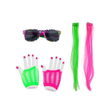Lux Accessories Retro Neon Pink Green Sunglasses Gloves Wig Party Costume Set - Green Wigs Party City
