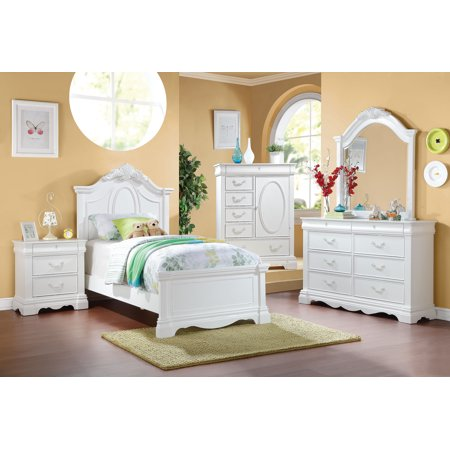 ACME Estrella Twin Panel Bed with Drawer in White Pine wood Bedroom Pine Poster Bed